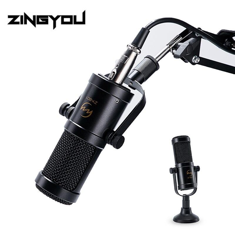 Micrófono condensador ZINGYOU 100% Microfono de grabación de sonido profesional Original con soporte de brazo micrófono de estudio para ordenador