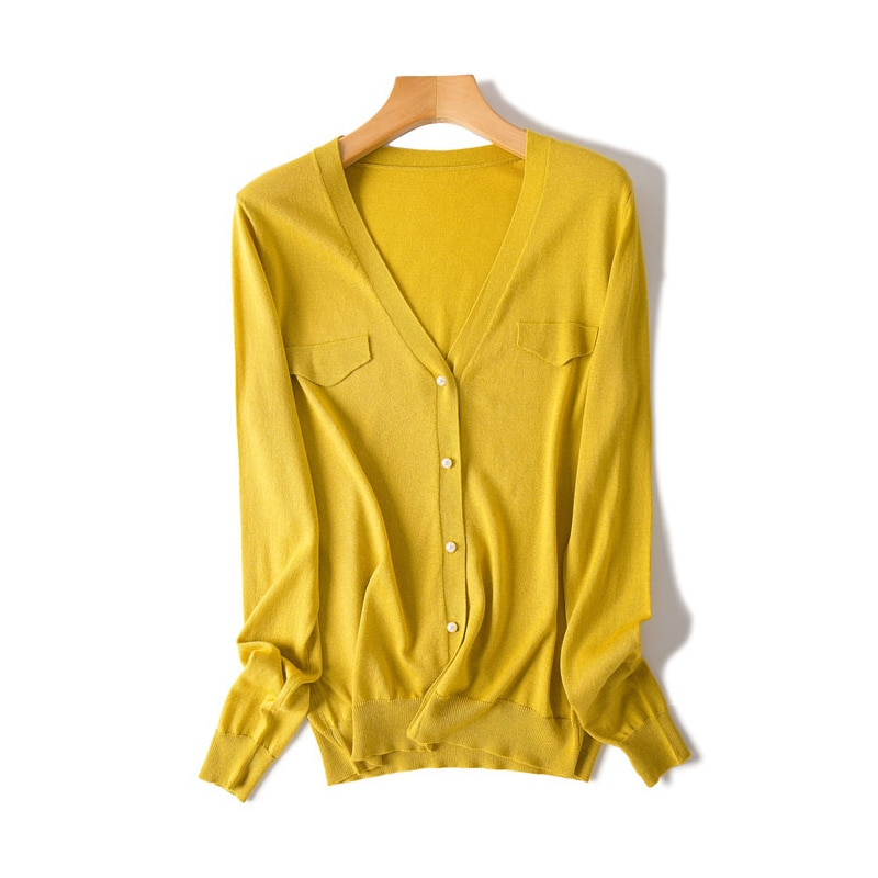 SuyaDream Women Silk Cardigan 85%Silk 15%Cashmere V neck Long Sleeved Solid Sweaters 2020Fall Winter Cardigans for Women enlarge