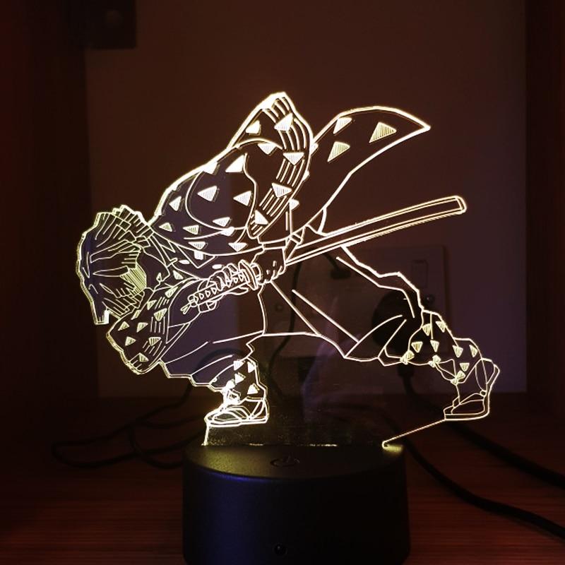 Anime Demon Slayer Agatsuma Zenitsu Figure Acrylic Led Night Light for Kids Child Bedroom Decor Cool Kimetsu No Yaiba Gift Lamp