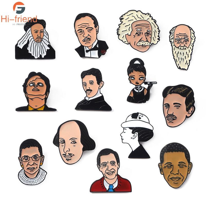 Retrato de los famosos Da inci Albert Einstein broches Audrey Hepburn esmalte alfileres insignia de joyería para hombre y mujer