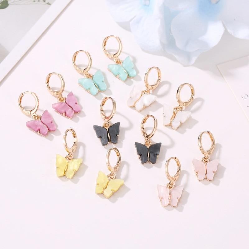 Pendientes coreanos de mariposa de 6 colores para mujeres y niñas, joyería acrílica Pendientes de gota geométricos