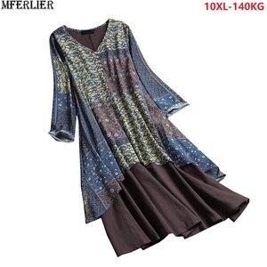 Plus Size 10XL 138-144cm autumn women patchwork Maxi dress long sleeve floral dress vintage dress Female navy blue loose dress