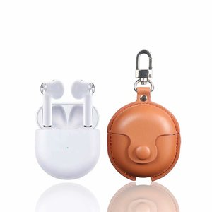 PU Leather Earphone Case Protective Wireless Headphones Cover with hook for Oneplus Buds