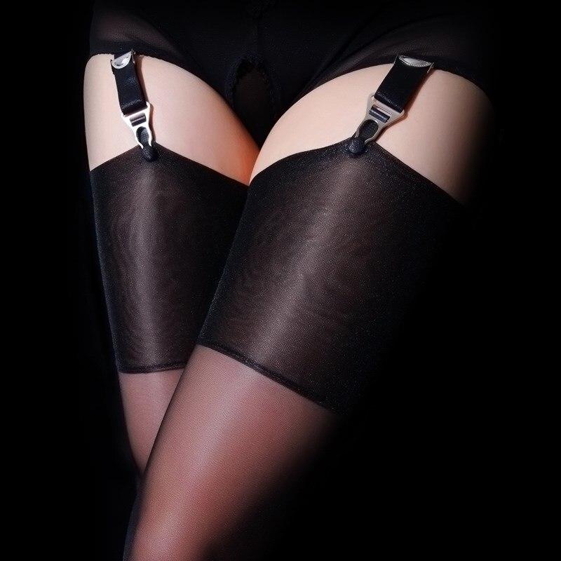 Пикантные чулки до бедра в стиле ретро, женские чулки выше колена, прозрачные силиконовые блестящие чулки для пояса с подвязками