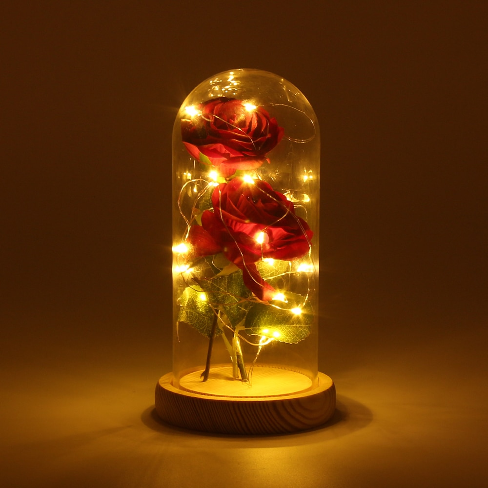 Artificial Eternal Rose LED Light Beauty The Beast In Glass Cover Christmas Home Decor For Mother Valentines Day New Year Gift недорого