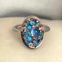 2021 cute woman rings korean fashion gothic white gold plated lake blue diamond gold jewelry engagement ring anillos mujer