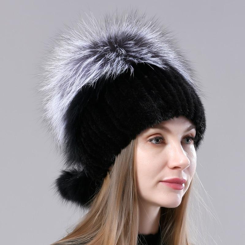 Natural Fluffy Hats Womens Mink Fur Knitted Hat Balls Genuine Fox Fur Pompom Hat Stylish Female Fur