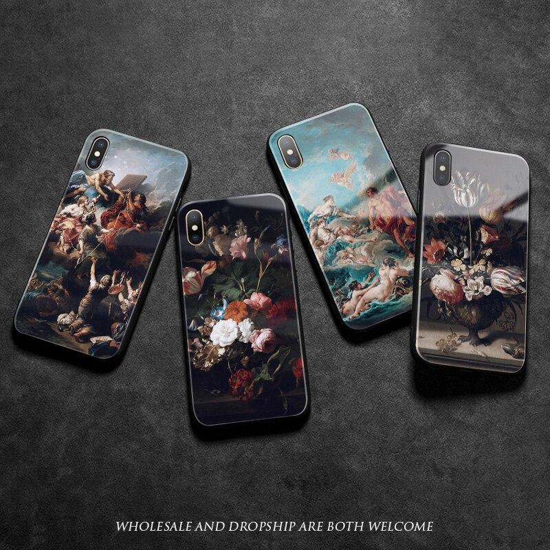 Ренессанс арт Винтаж Барокко живопись мягкий силиконовый стеклянный чехол для телефона iPhone SE 6 6s 7 8 Plus X XR XS 11 Pro MAX