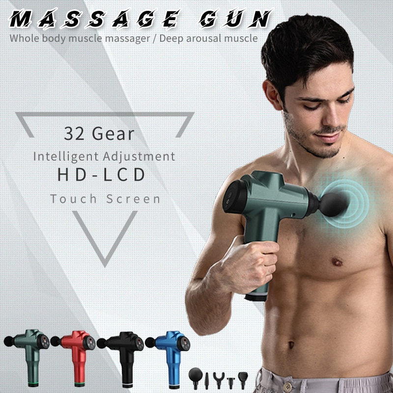 2020 New 7800r LCD Display Body Massage Gun Exercising Muscle Electric Massager for Body and Neck Vibrator Deep Slimming Shaping