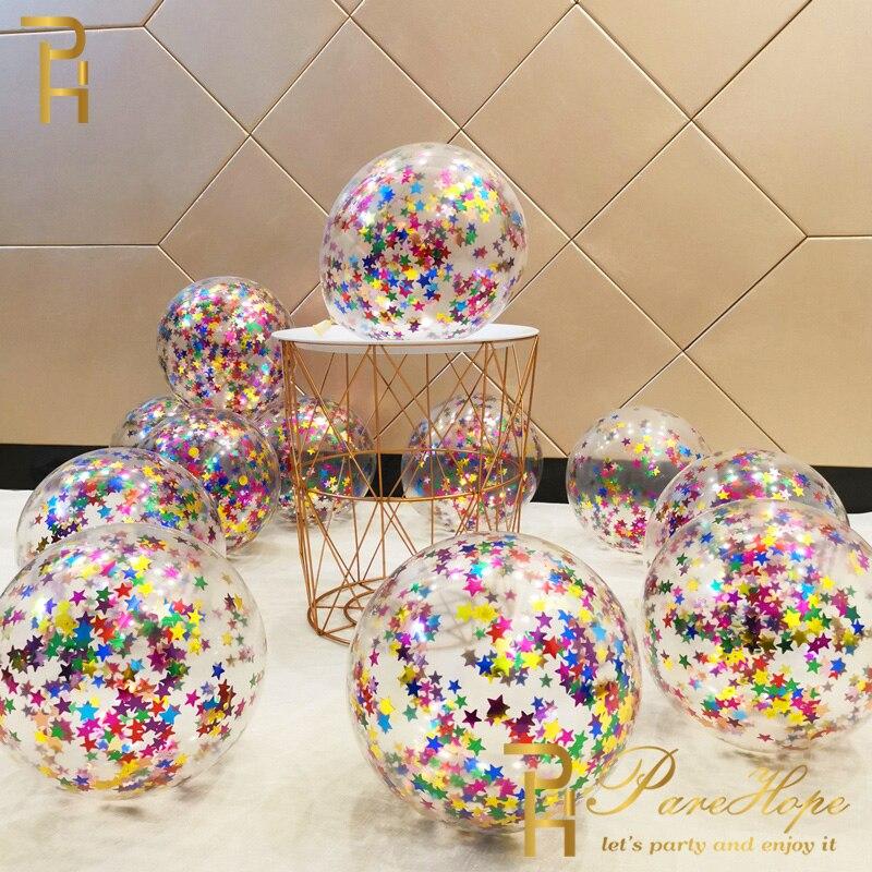 10/20 Звездный конфетти воздушные шары конфетти металлик латексные Прозрачные Шары для будущей мамы на день рождения свадебный декоративный ...