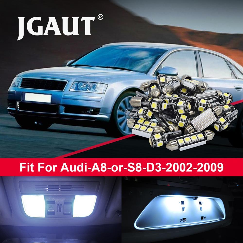 JGAUT 13 Uds blanco 2002-2009 Canbus bombillas LED de coche Kit de paquete de interiores para au-di A8 o S8 D3 Domo luz de matrícula