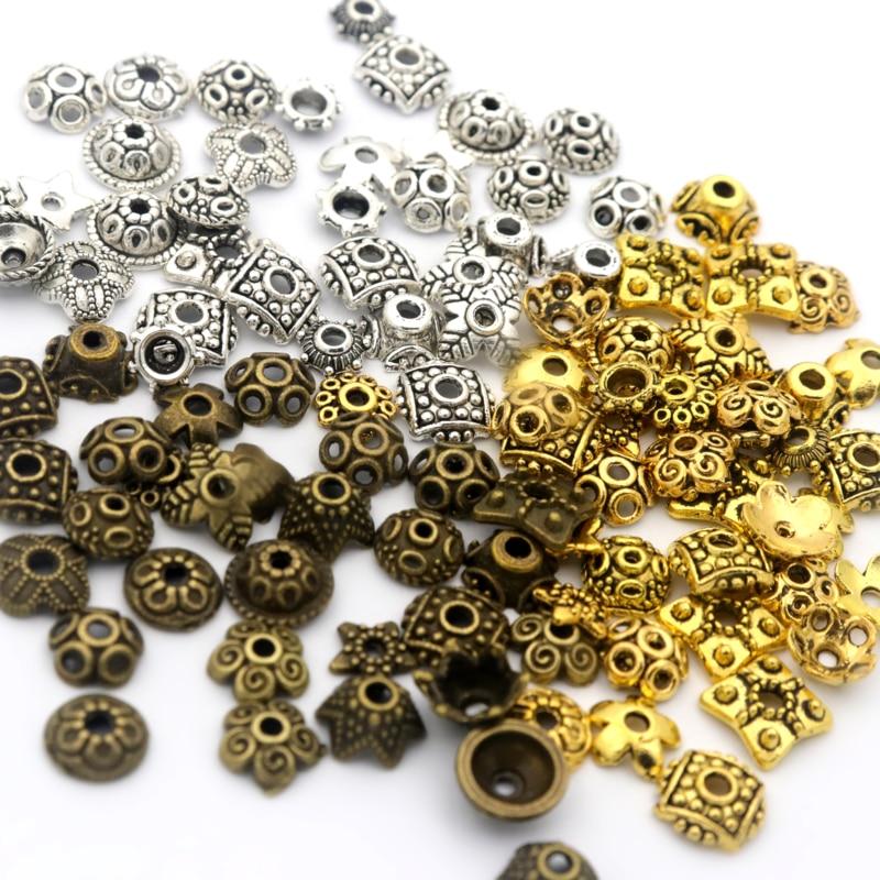 200 шт смешанные размеры тибетские серебряные маленькие бусины колпачки для самостоятельного изготовления ювелирных изделий принадлежности для рукоделия