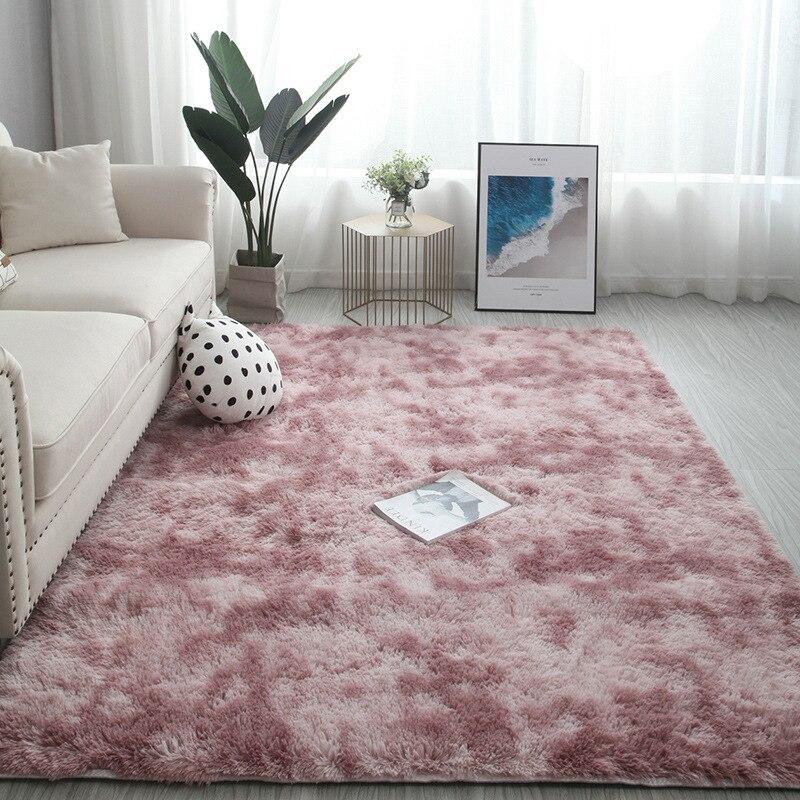 سجادة قطيفة فاخرة لتزيين غرفة المعيشة ، إكسسوار قطيفة ناعم ، أشعث ، وردي ، أحمر ، رمادي ، 200 × 300