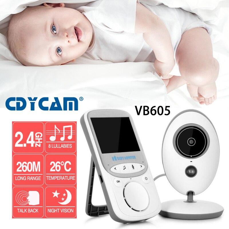 جديد VB605 2.4 بوصة اللاسلكية LCD فيديو مراقبة الطفل راديو مربية الموسيقى تهويدة IR المحمولة 2 طريقة الحديث كاميرا لمراقبة الأطفال جليسة آمنة