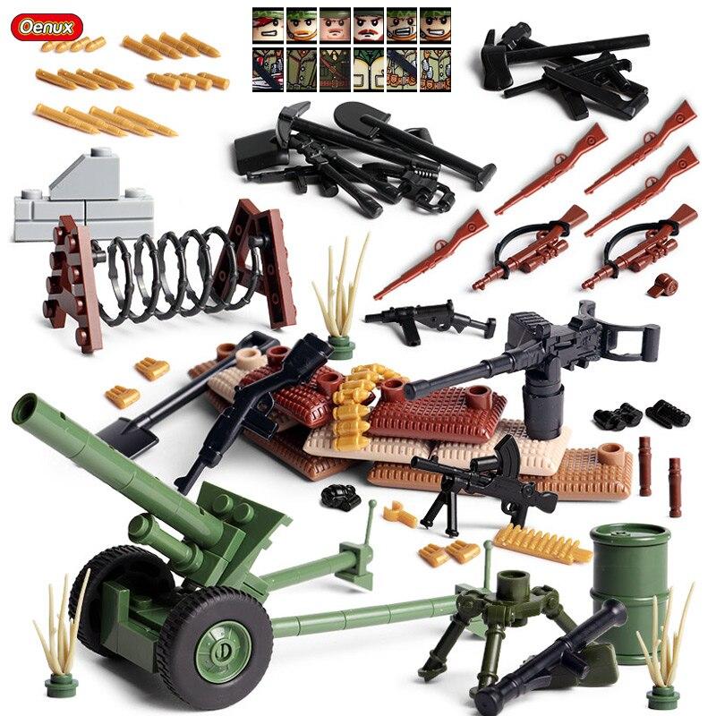Oenux nuevo WW2 Mini ejército de ee.uu. soldado figura militar pequeño conjunto de bloques de construcción WW2 arma militar modelo MOC ladrillo juguete para niños
