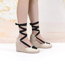 Sandalias Mujer Wedge Espadrille รองเท้าแตะสบายรองเท้าแตะสุภาพสตรีรองเท้า Breathable ผ้าลินินผ้าใบปั๊ม