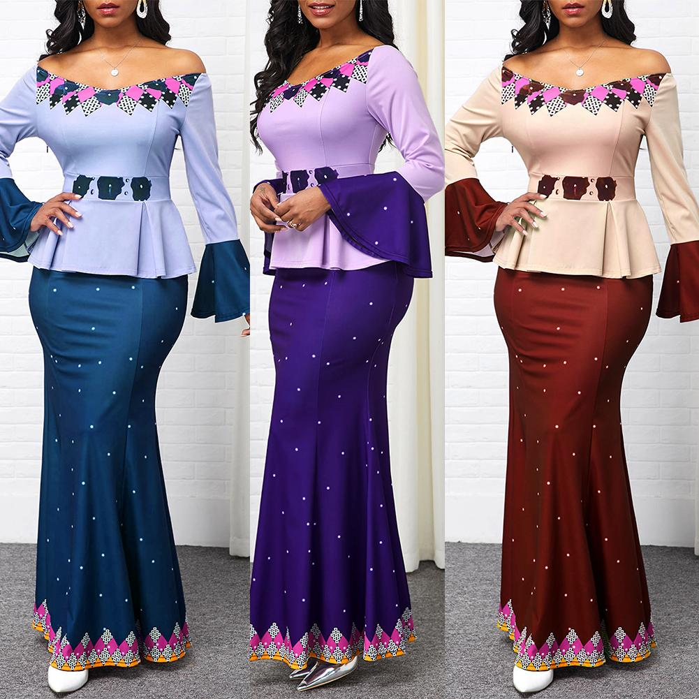 5XL Women Elegant Dress OffShoulder Long Flared Sleeve Fish Tail Hem Bodycon Floor-Length Maxi Dresses Party Daily Wear  - buy with discount