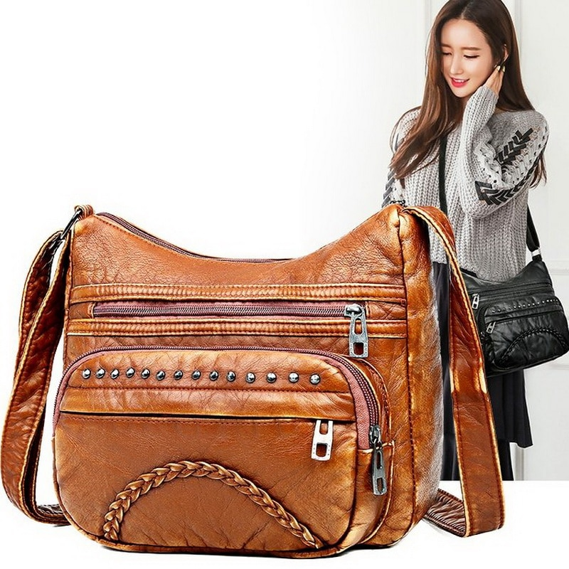 Bolsos de lujo a la moda para mujer, bolsos de diseño 2019 Vintage, bandolera de piel sintética, negro, bandolera lavada suave, Bolso con solapa