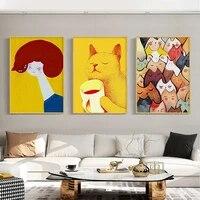 Affiche sur toile avec chat et filles  dessin anime moderne abstrait  peinture murale  images dart pour salon  decoration de la maison