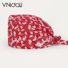 Unisex scrubs caps women cartoon printing beauty salon work hat High Quality sweat-absorbent cap Adj