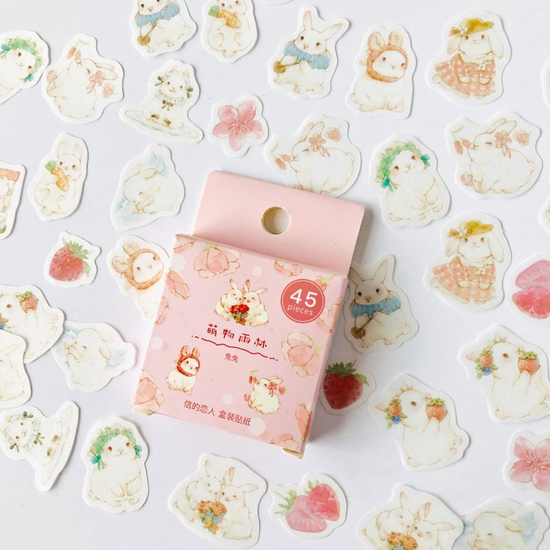 45 pcs /Box Lovely White Rabbits Strawberry Washi Paper Decorative Stickers Notebook Decoration