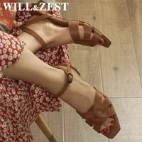 willzest slippers women sandals chunky low heels leather gladiator luxury square open toe summer female shoes black slip ons