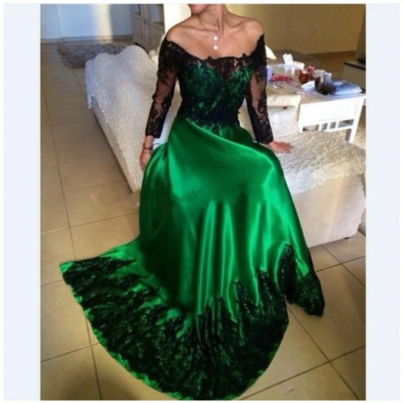 Abendkleider-vestido de noche verde esmeralda con apliques de encaje negro, manga larga,...