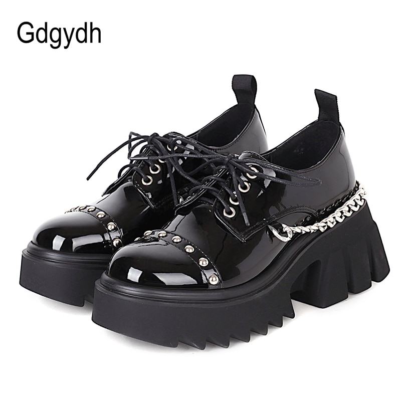 AliExpress - Gdgydh Punk Style Platform Shoes Women Sexy Metal Chain Rivet Patent Leather Girls Goth Shoes Chunky Heel Handmade Plus Size 43