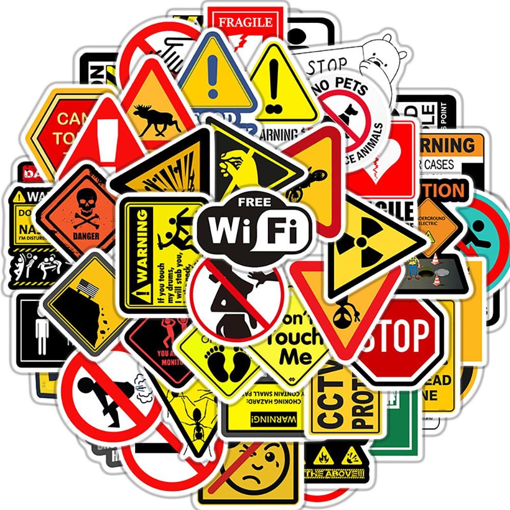 Наклейки предупреждающие, 10/30/50 шт., для защиты от опасности, скейтборда, холодильника, гитары, ноутбука, мотоцикла, путешествий, классически...