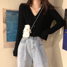 2021spring and Autumn New Korean Style V-neck Long Sleeve Black Top Idle Style Thin Cardigan Jacket