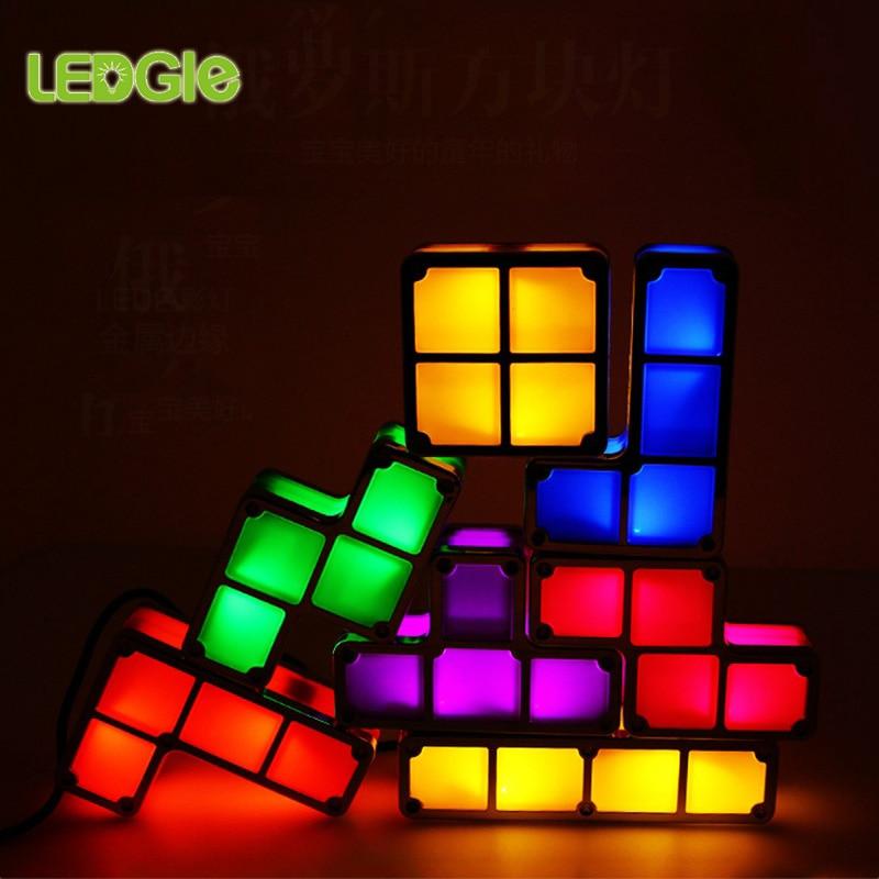لتقوم بها بنفسك تتريس لغز ضوء تكويم ضوء الليل البناء كتلة الجدول مصباح 7 ألوان لعبة جديدة للأطفال المراهقين ألعاب الهدايا