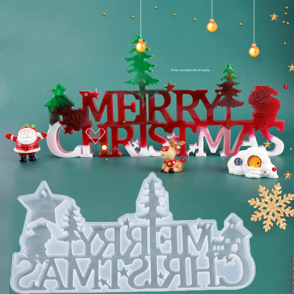 Christmas Decoration UV Epoxy Resin Mold Christmas Santa Letters Listing Decoration Silicone Mold For DIY Jewelry Making Tools