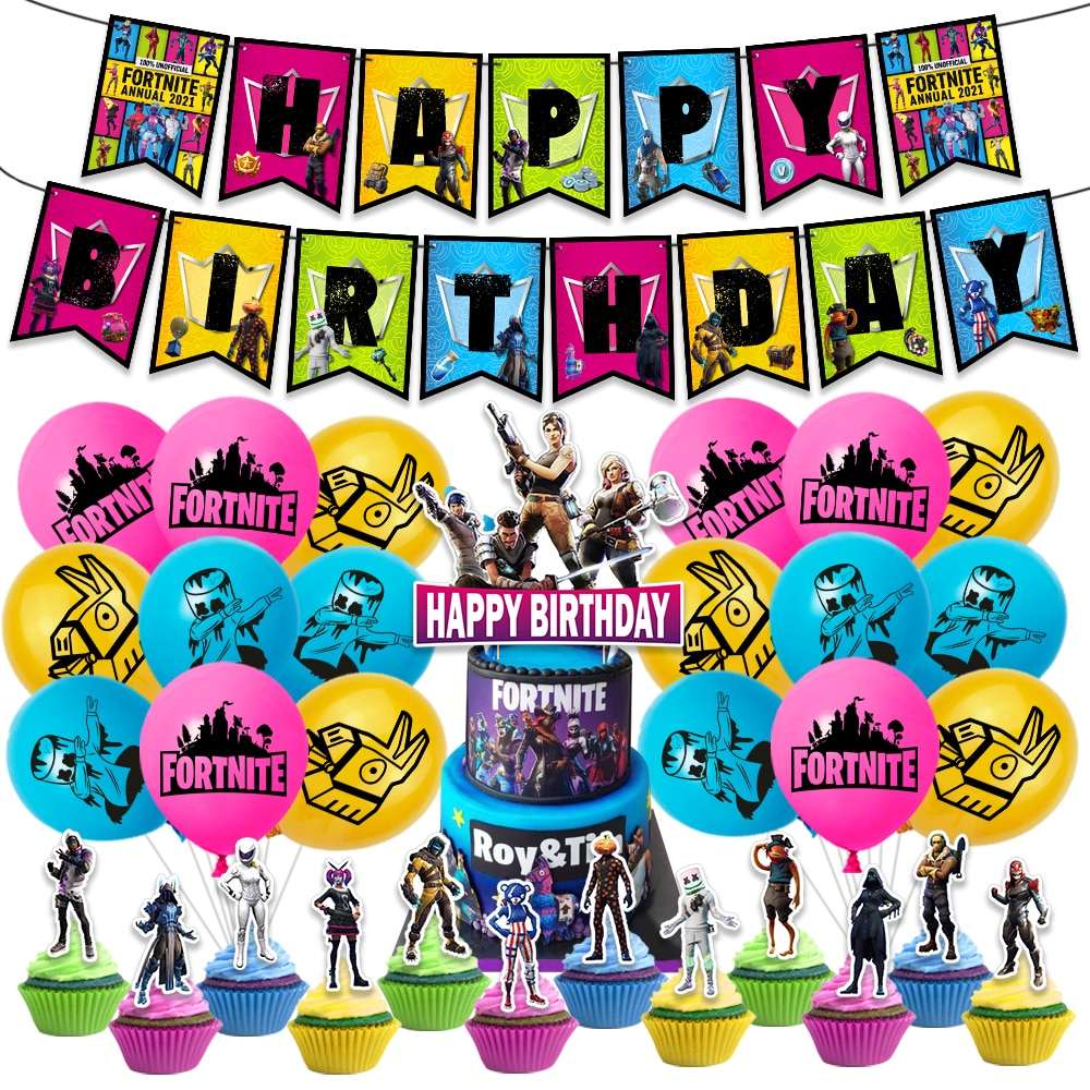 Fortnition Latex Balloon Shooting Game Banner Flag Cake Topper Party Balloons Bunting Kids Adult Happy Birthday Decoration Favor