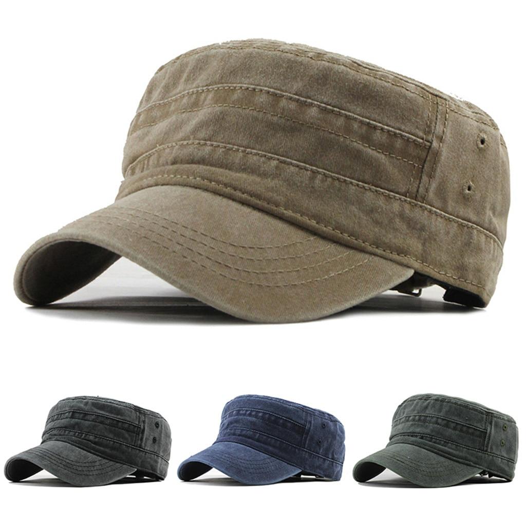 Military Cap Fashion Outdoor Unisex Casual Baumwolle Denim Hut Sonnenblende Solide Flache Einfache Caps Papa Hut Gorra Hombre Verano # D