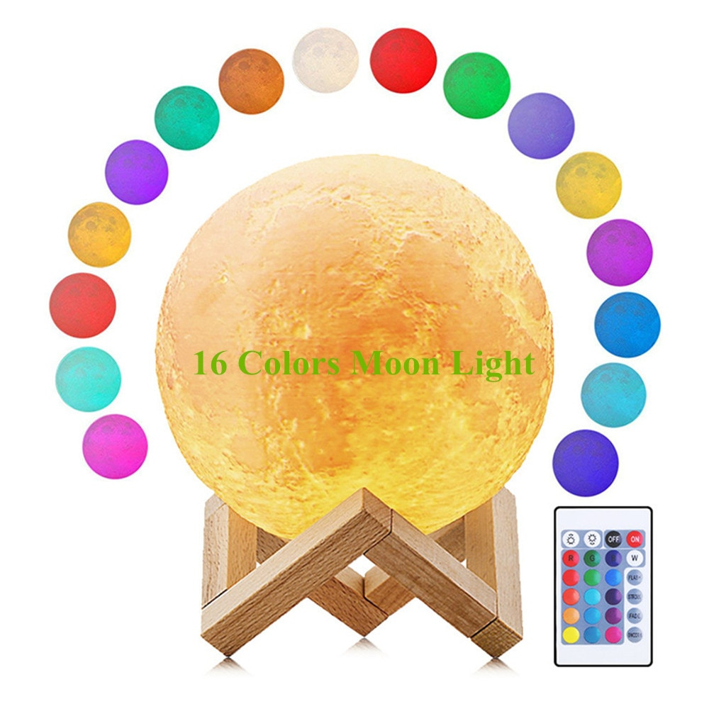 3D Print Moon Light Touch Sensor Remote Control 16 Colors LED Table Lamp USB Rechargeable Bedroom Bedside Lamp for Children Gift