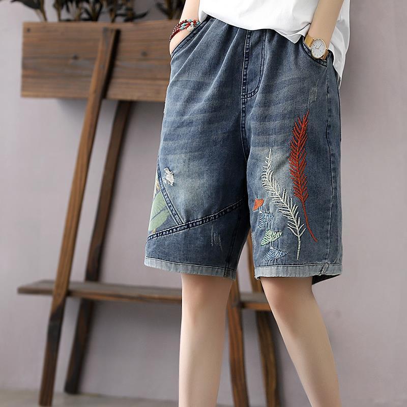 Ретро литературные и художественные летние новые брюки с вышивкой, женские брюки, свободные джинсы, летние тонкие повседневные брюки