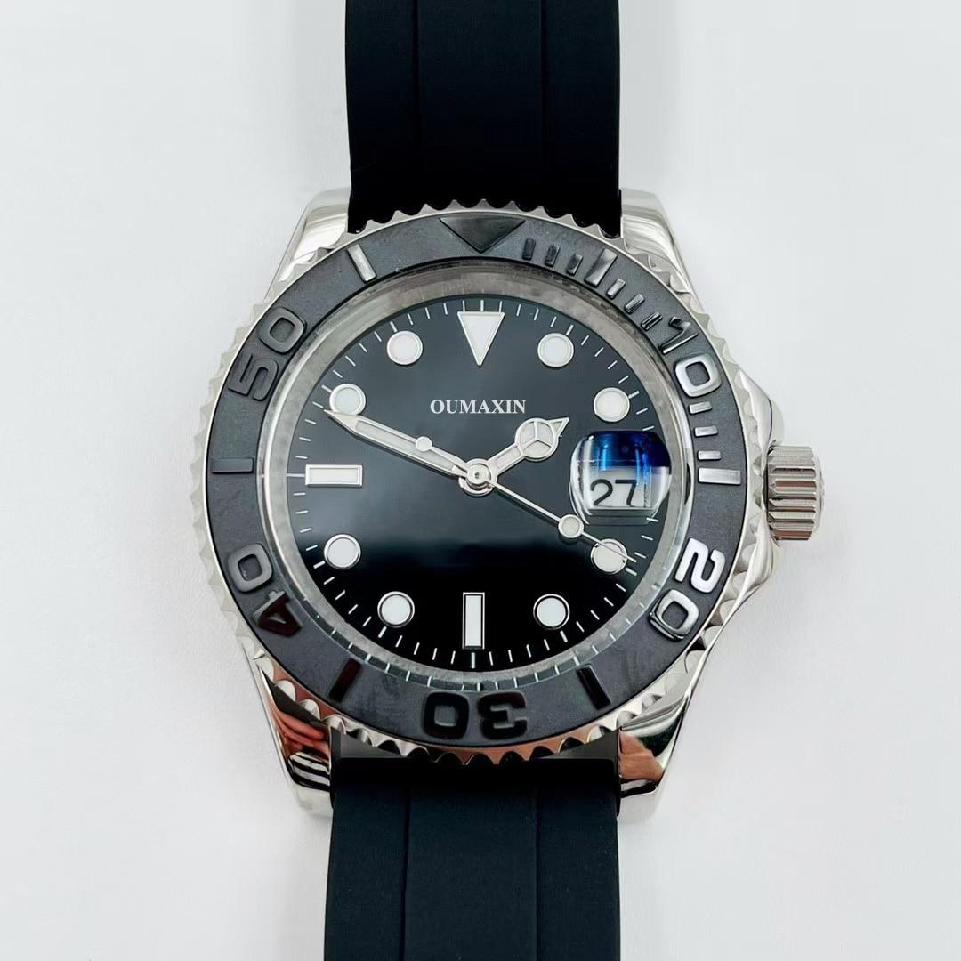 ساعة رجالي Miyota8215 التلقائي الميكانيكية الأسود الهاتفي الذهب حالة 316 الفولاذ المقاوم للصدأ تاريخ ساعة مضادة للماء سيليكون حزام أسود