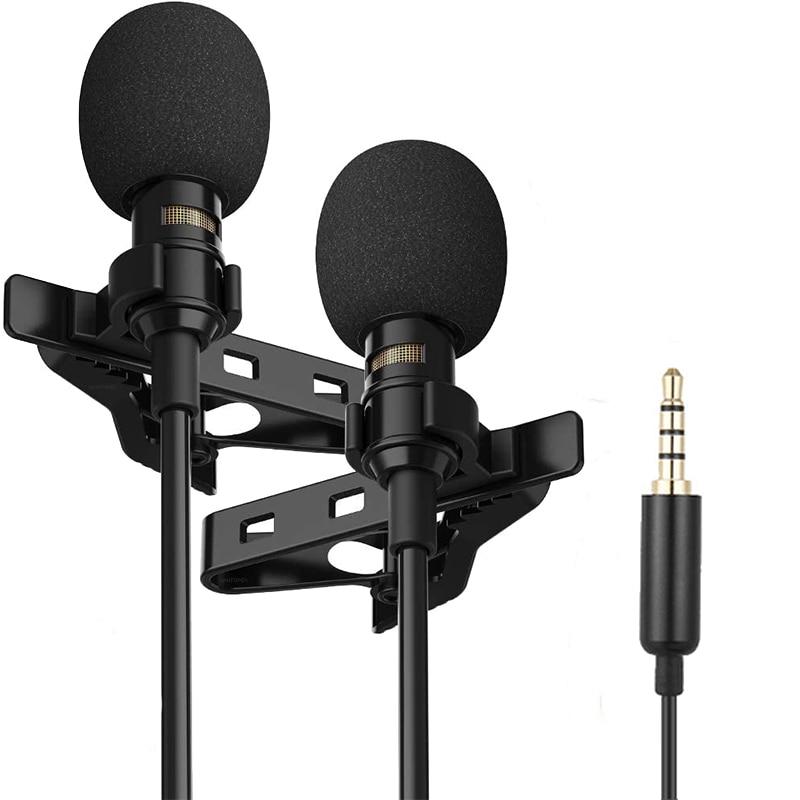 Minimicrófono Lavalier Dual profesional para teléfono, portátil y PC, micrófono de solapa...