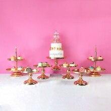 Ffriday 3-7 pces ouro festa de aniversário casamento cristal redondo conjunto de metal espelho sobremesa bolo suporte