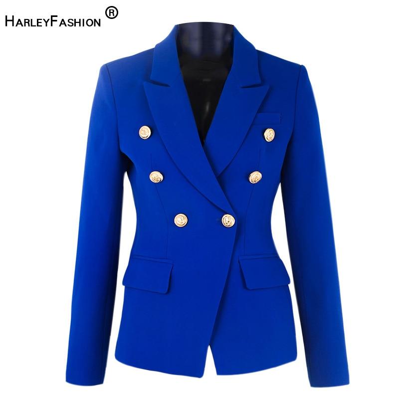 HarleyFashion مصمم أنيق للمرأة الربيع الأزرق عادية السترة أزرار معدنية جودة سليم بليزر