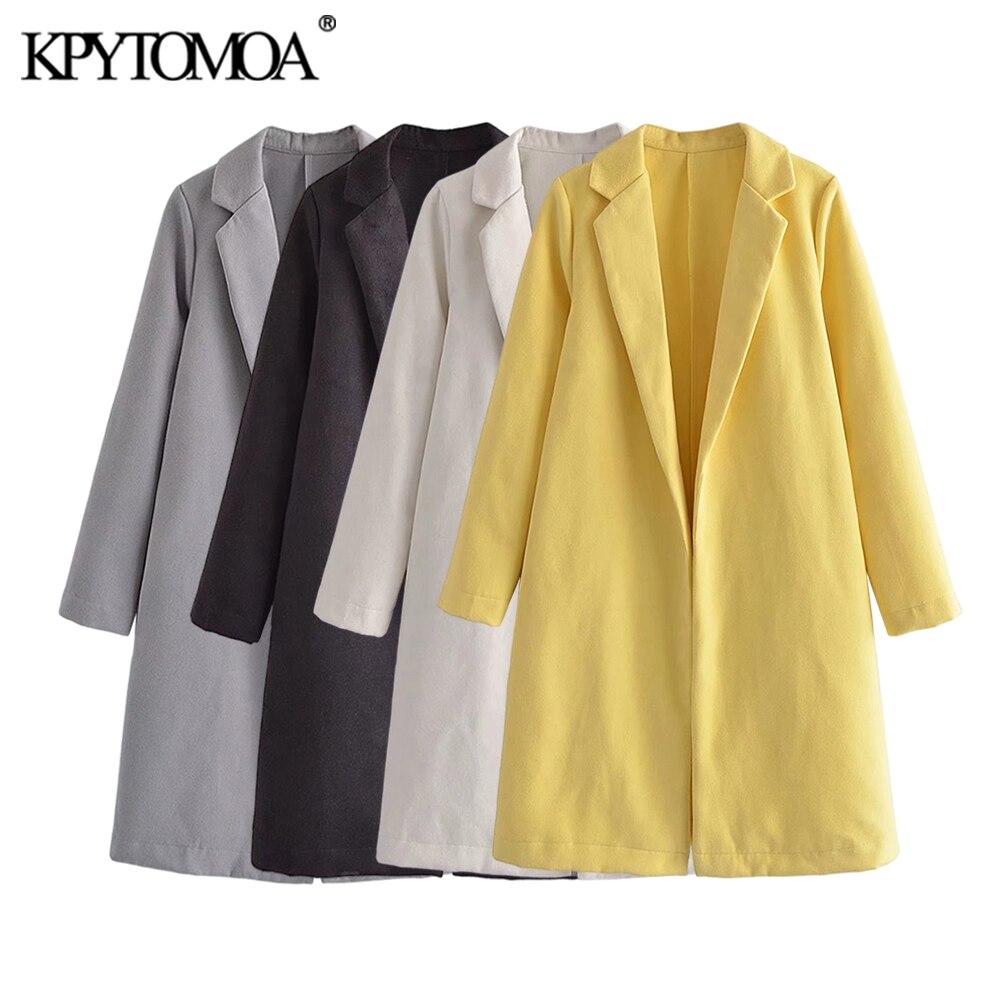 KPYTOMOA موضة 2021 للنساء مع ياقة صدر السترة معطف صوفي مفتوح عتيق كم طويل فضفاض ملابس خارجية للنساء معطف أنيق