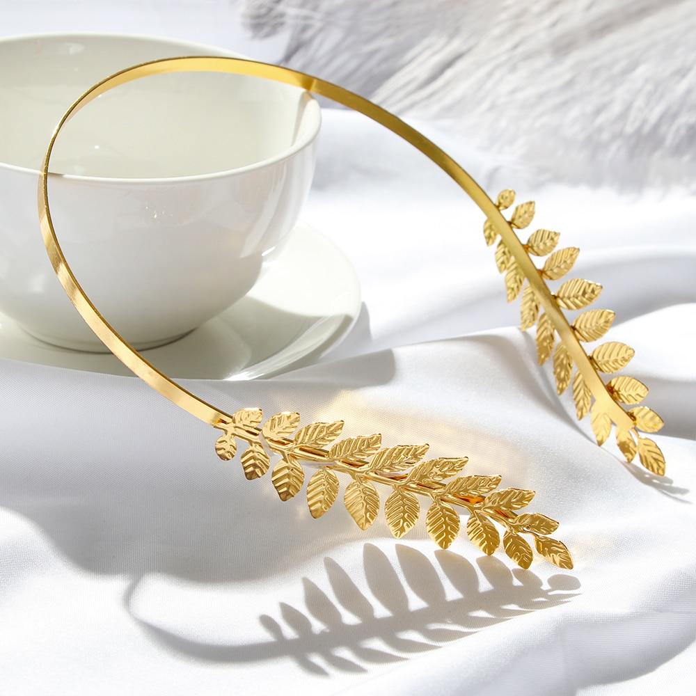 Retro hoja de oro boda romana novia griega Mujer Accesorios para el cabello novia cabeza joya diadema cabeza tiaras corona joyería Aro para el pelo
