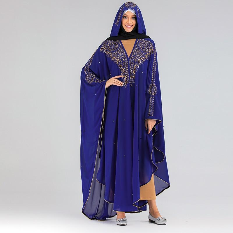 Bolero de lentejuelas Bolero Djelaba Femme mujeres se encoge Niqab Abaya Kimono largo musulmán Cardigan túnica islámica Dubai Turquía mumulman abrigo