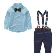 (0M-4Y) Infant long-sleeved solid color shirt top + suspenders two-piece suit gentleman suit suit top + pants suspender S4