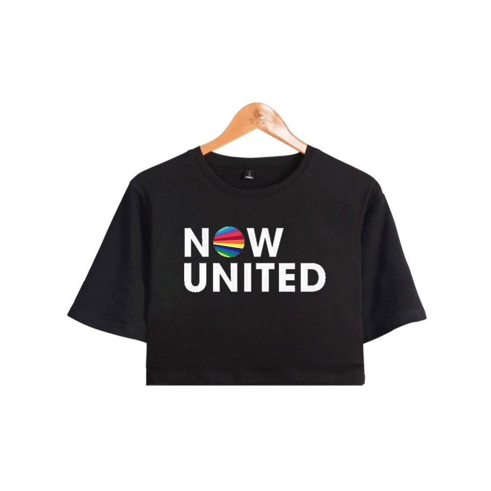 WAMNI ahora unidos mejor álbum Top ombligo expuesto camiseta Oversize cuello mejor ahora las letras mujer divertido camiseta