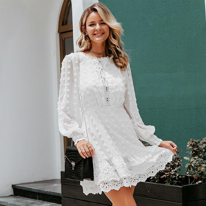 Sexy white chiffon dress women Long lantern sleeve lace dresses dots female  Luxury slim evening party dress vestidos