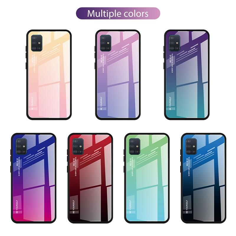 Luxus Fall Für Samsung Galaxy A71 A51 Fall Gehärtetes Glas Gradienten Abdeckung Fall Für Samsung A51 A71 Fall Silikon Telefon stoßstange