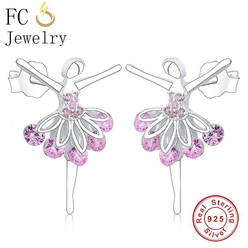 Fc jóias 925 prata flor de fadas anjo ballet menina rosa zircão vestido bailarina brinco para acessórios femininos moda oorbellen