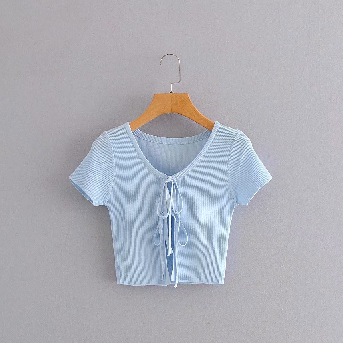 2020 Summer New European American Solid Color blue Short Lace zaraing vadiming sheining women blouse shirt tops clothes DJ20