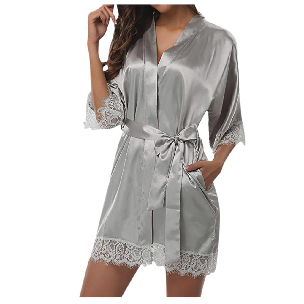 Ropa de dormir Sexy de encaje para mujer, ropa de dormir de satén, lencería, pijama, pijama Sexy para mujer, pijama de seducción # GM